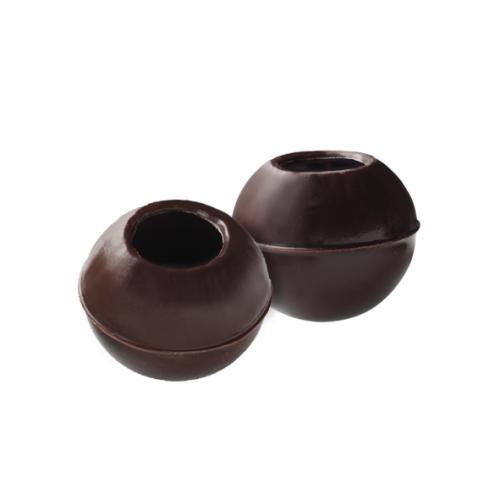 Hohlkugeln aus dunkler Schokolade von Callebaut zur Herstellung eigener Pralinen