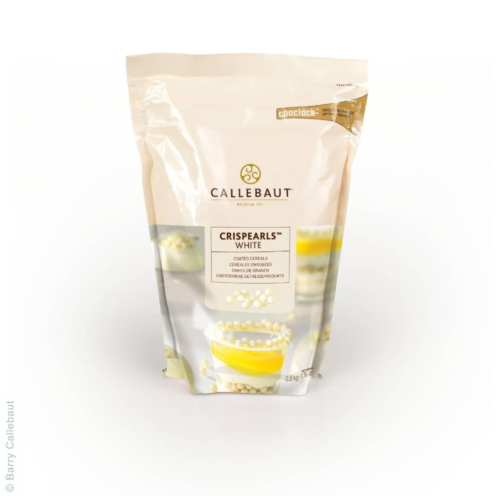 weiße Crispearls in Verpackung von Callebaut